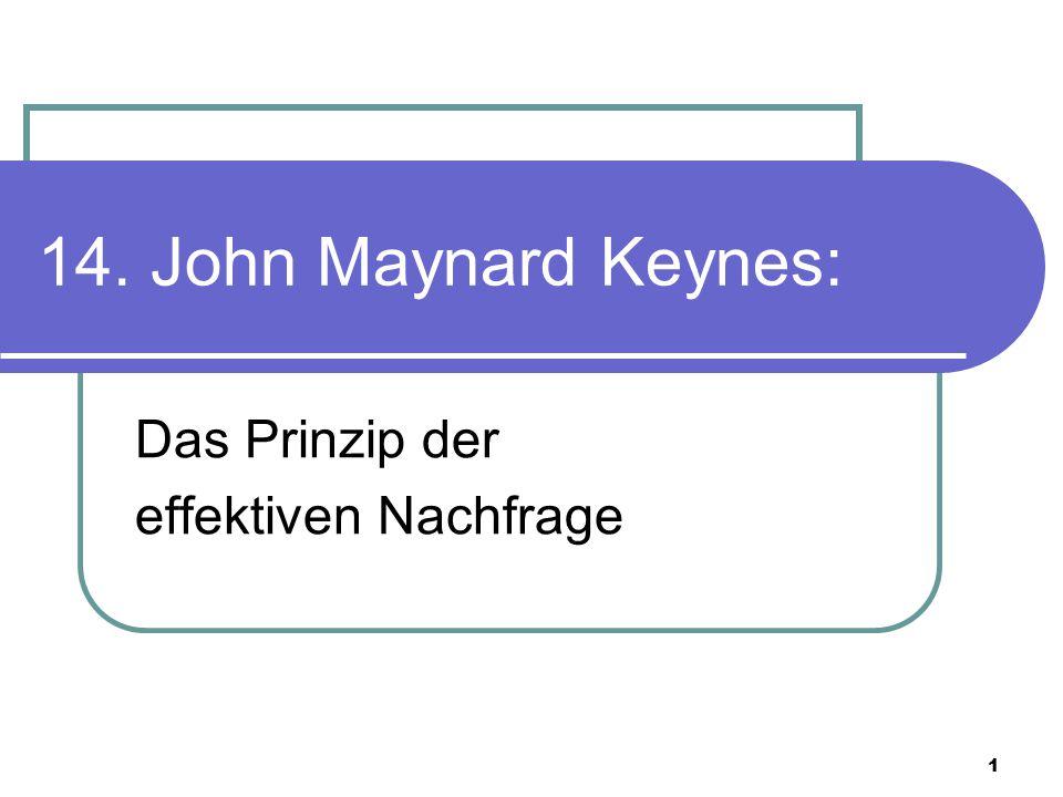 2 Prinzip der effektiven Nachfrage John Maynard Keynes (1883-1946)