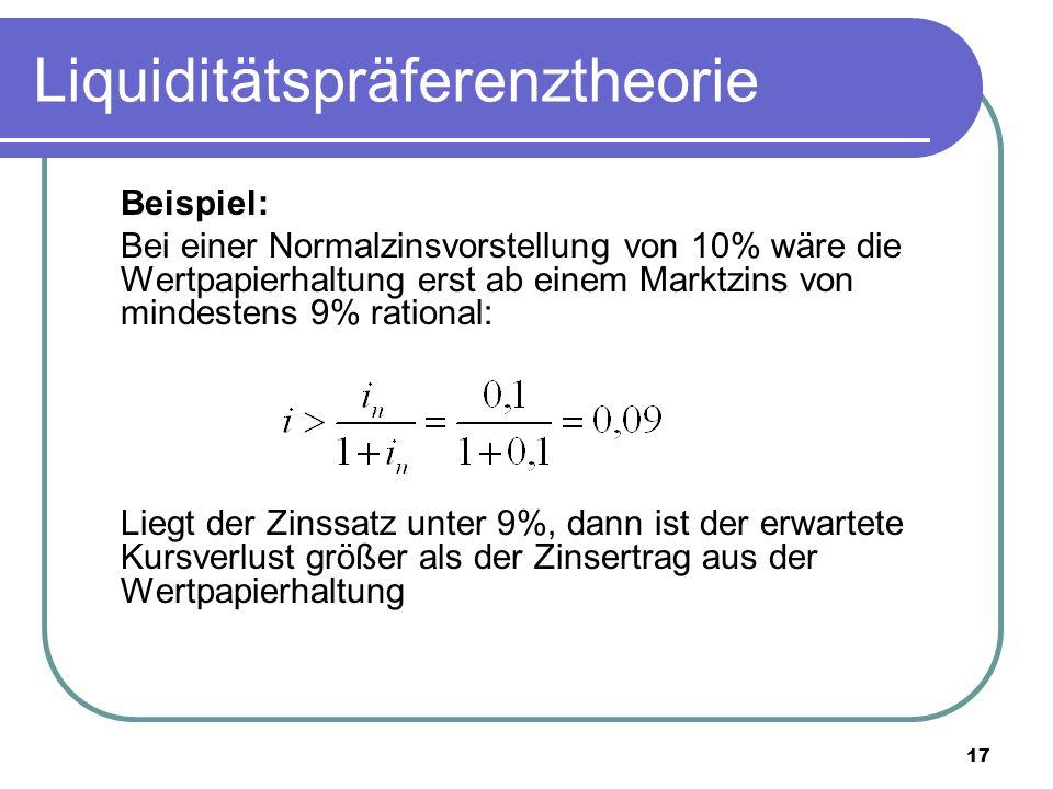 17 Liquiditätspräferenztheorie Beispiel: Bei einer Normalzinsvorstellung von 10% wäre die Wertpapierhaltung erst ab einem Marktzins von mindestens 9%