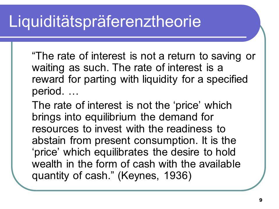 10 Liquiditätspräferenztheorie Motive für das Halten von Bargeld und Sichteinlagen: - Transaktionsmotiv - Vorsichtsmotiv - Spekulationsmotiv