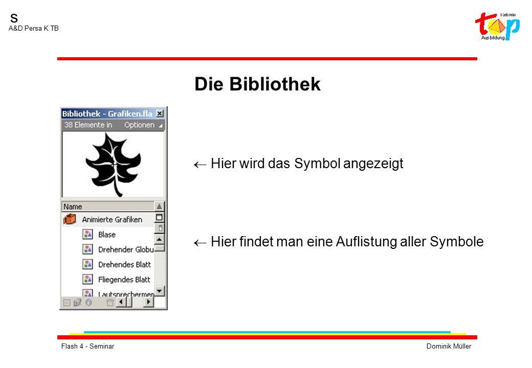 Flash 4 - SeminarDominik Müller s A&D Persa K TB  Hier wird das Symbol angezeigt  Hier findet man eine Auflistung aller Symbole Die Bibliothek
