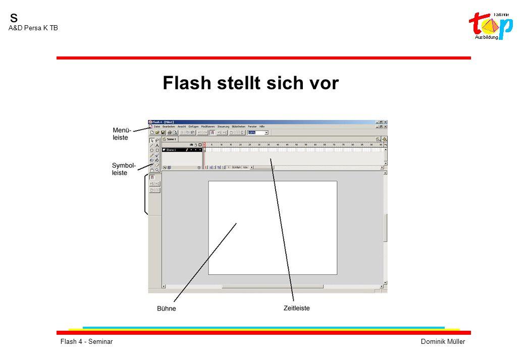 Flash 4 - SeminarDominik Müller s A&D Persa K TB Übung 3:  Erstellen Sie einige Symbole (Grafik-Symbole)  Fügen Sie mit Hilfe der Bibliothek mehrere Instanzen dieses Symbols in Ihren Film ein  Erstellen Sie Schaltflächen.