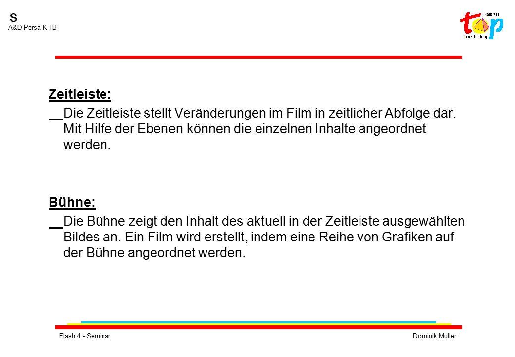 Flash 4 - SeminarDominik Müller s A&D Persa K TB Zeitleiste: Die Zeitleiste stellt Veränderungen im Film in zeitlicher Abfolge dar. Mit Hilfe der Eben