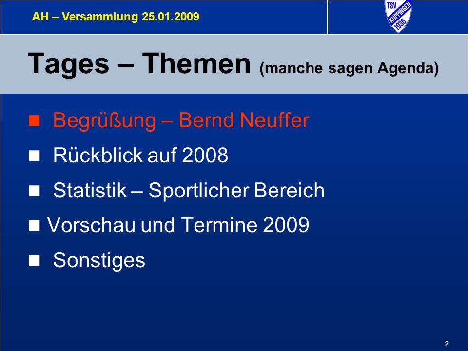 2 Tages – Themen (manche sagen Agenda) AH – Versammlung 25.01.2009 Begrüßung – Bernd Neuffer Rückblick auf 2008 Statistik – Sportlicher Bereich Vorsch