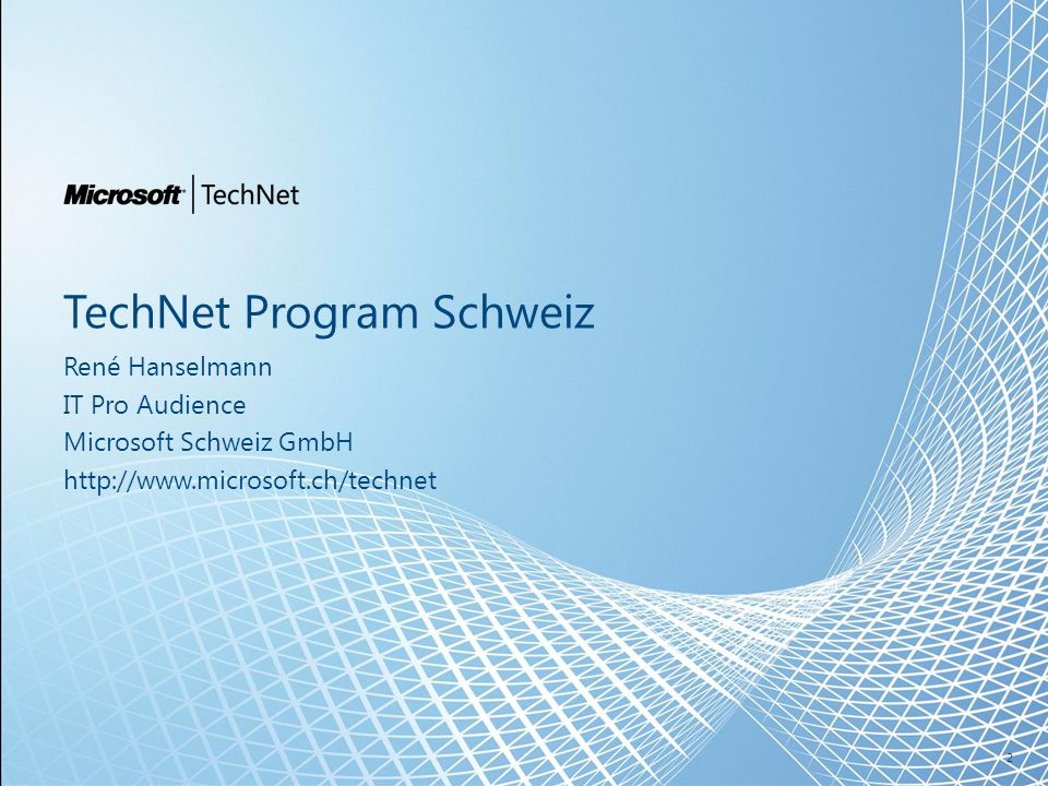 Swiss TechNet Platform  Events für IT Pro's www.microsoft.ch/technet 3 TechNet WEB >22'000 User/Mt.