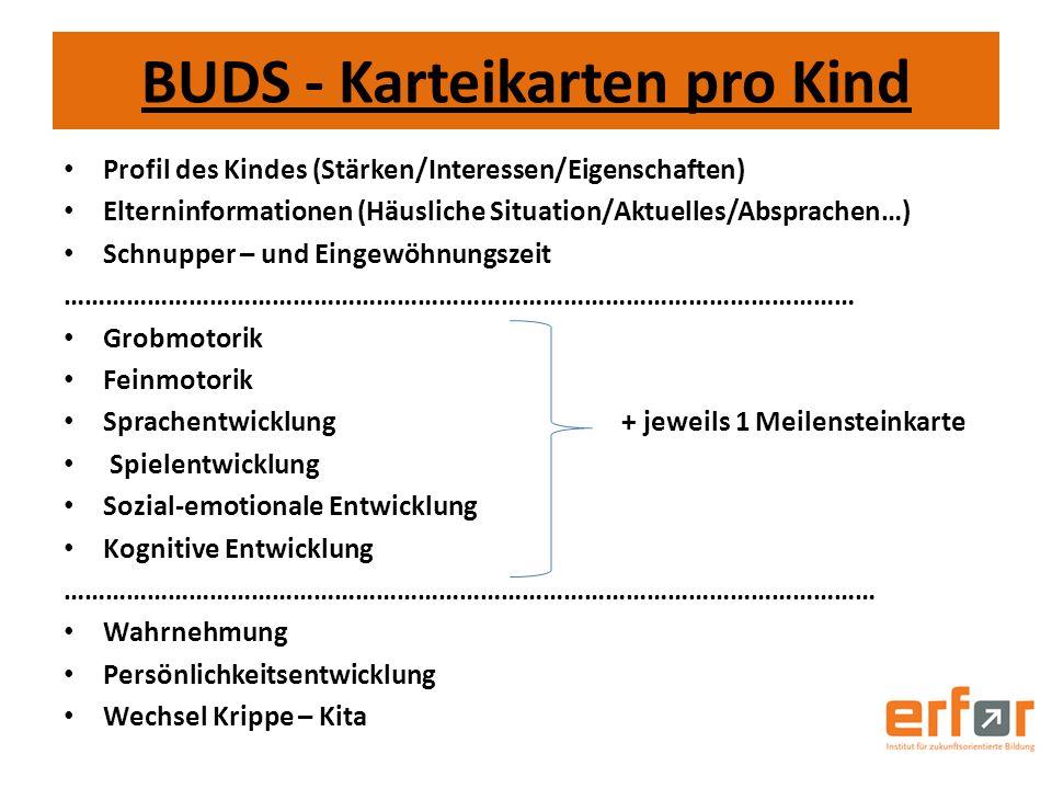 BUDS - Karteikarten pro Kind Profil des Kindes (Stärken/Interessen/Eigenschaften) Elterninformationen (Häusliche Situation/Aktuelles/Absprachen…) Schn