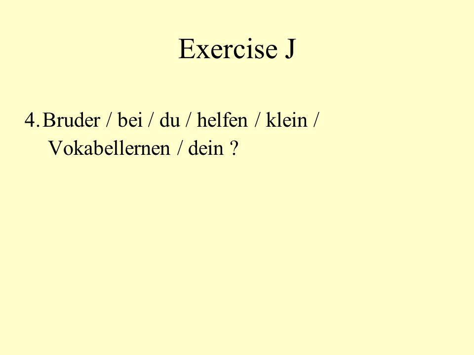 Exercise J 4.Bruder / bei / du / helfen / klein / Vokabellernen / dein ?