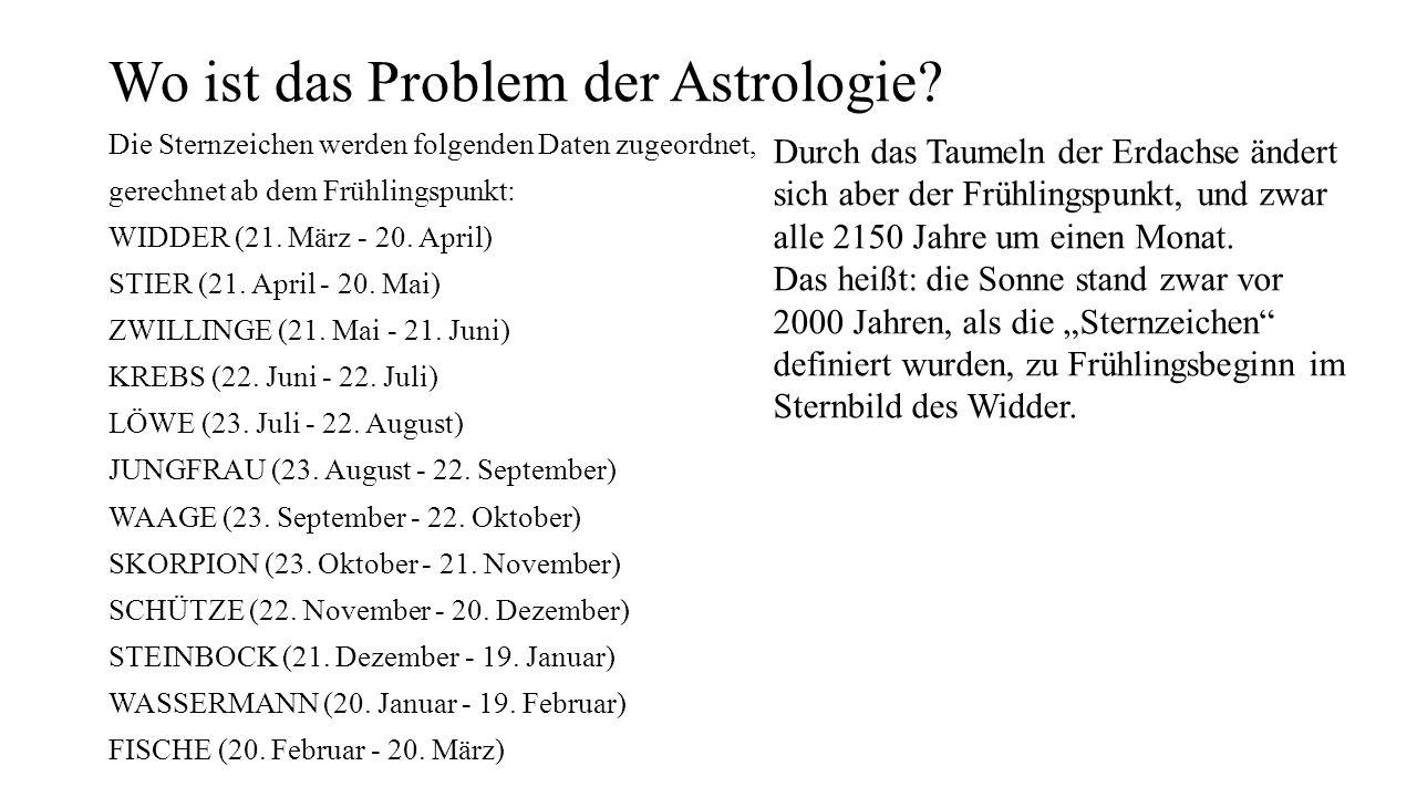 Wo ist das Problem der Astrologie? Die Sternzeichen werden folgenden Daten zugeordnet, gerechnet ab dem Frühlingspunkt: WIDDER (21. März - 20. April)