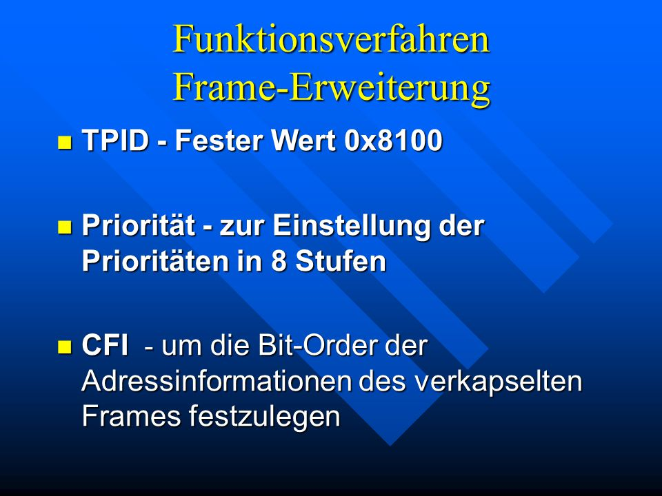 Funktionsverfahren Frame-Erweiterung TPID - Fester Wert 0x8100 TPID - Fester Wert 0x8100 Priorität - zur Einstellung der Prioritäten in 8 Stufen Priorität - zur Einstellung der Prioritäten in 8 Stufen CFI - um die Bit-Order der Adressinformationen des verkapselten Frames festzulegen CFI - um die Bit-Order der Adressinformationen des verkapselten Frames festzulegen