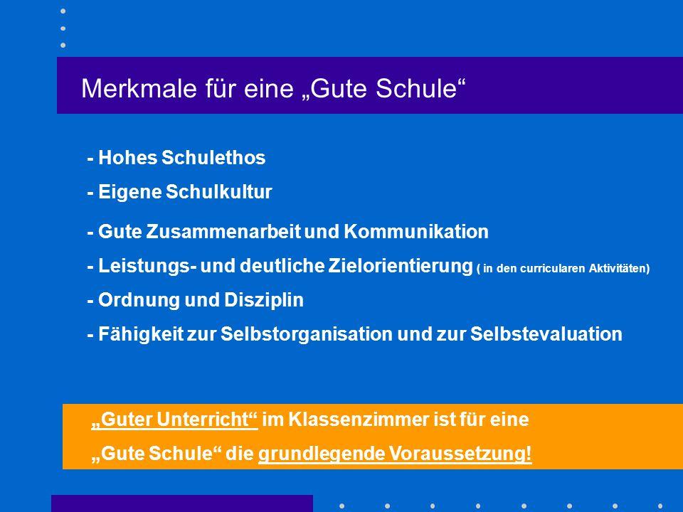 """Merkmale für eine """"Gute Schule"""" - Hohes Schulethos - Gute Zusammenarbeit und Kommunikation - Eigene Schulkultur - Leistungs- und deutliche Zielorienti"""