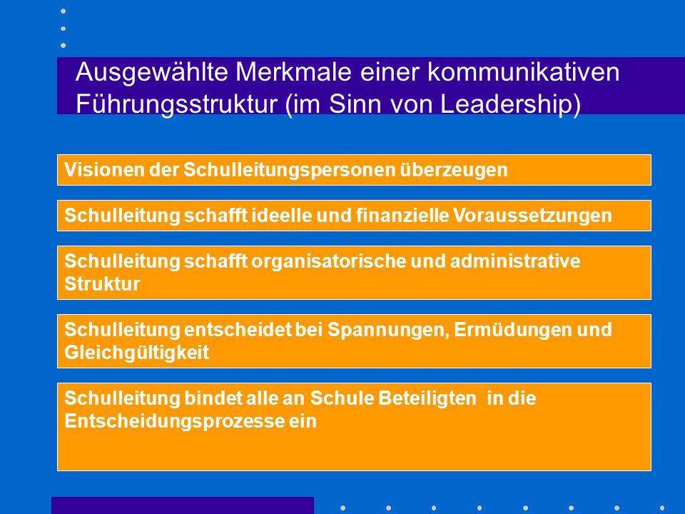 Ausgewählte Merkmale einer kommunikativen Führungsstruktur (im Sinn von Leadership) Visionen der Schulleitungspersonen überzeugen Schulleitung schafft