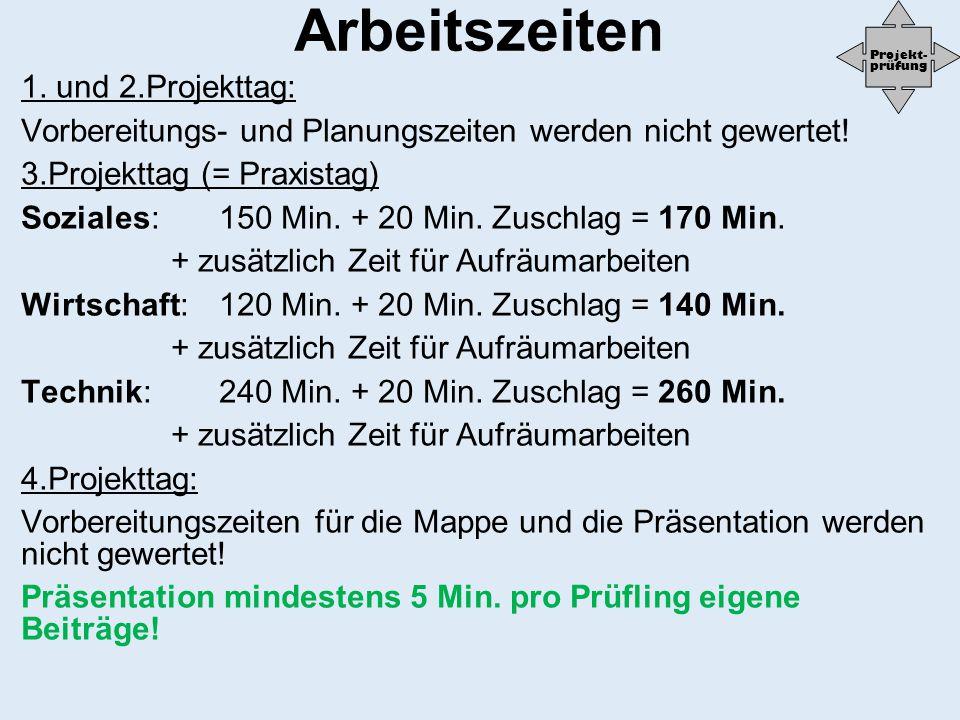 Arbeitszeiten 1. und 2.Projekttag: Vorbereitungs- und Planungszeiten werden nicht gewertet! 3.Projekttag (= Praxistag) Soziales:150 Min. + 20 Min. Zus