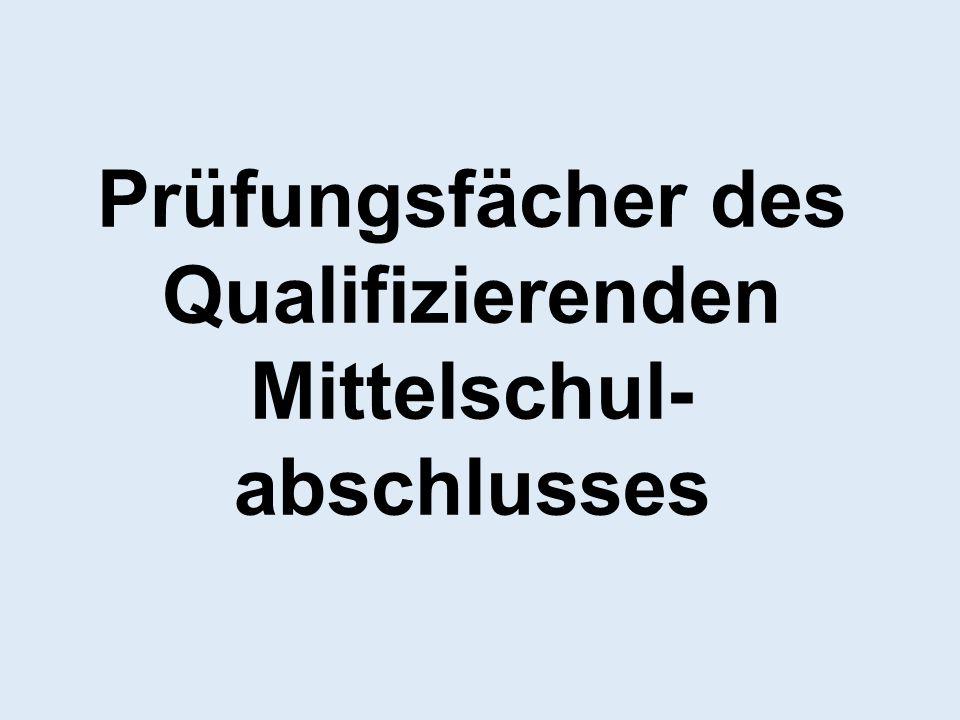 Prüfungsfächer des Qualifizierenden Mittelschul- abschlusses