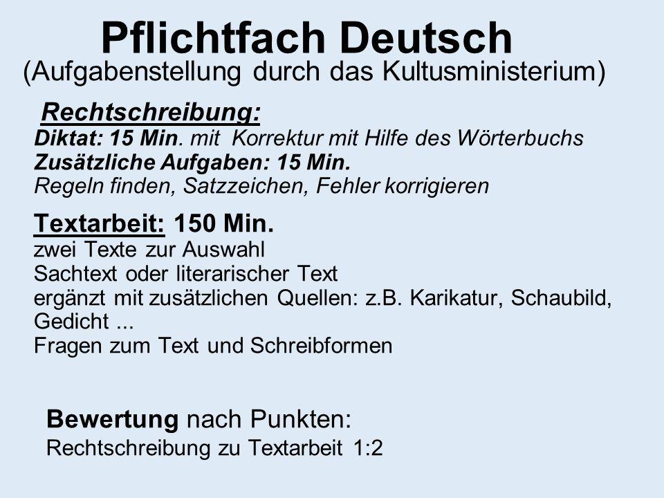 Pflichtfach Deutsch (Aufgabenstellung durch das Kultusministerium) Rechtschreibung: Diktat: 15 Min. mit Korrektur mit Hilfe des Wörterbuchs Zusätzlich