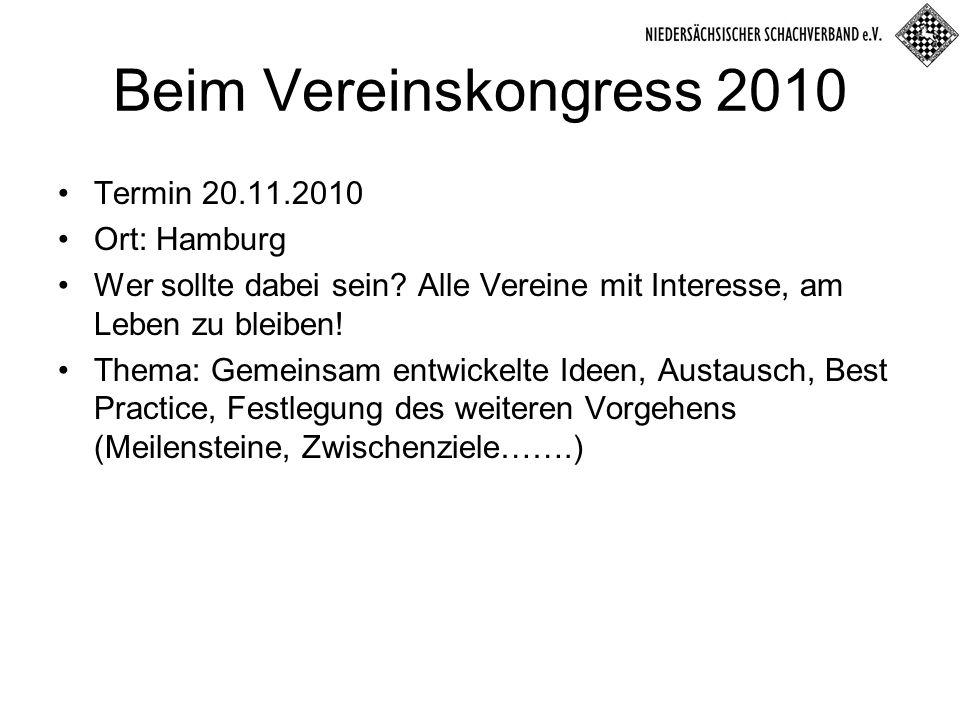 Beim Vereinskongress 2010 Termin 20.11.2010 Ort: Hamburg Wer sollte dabei sein.