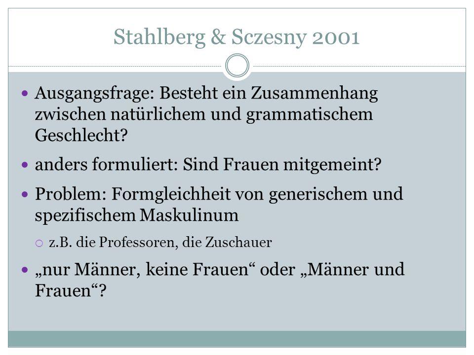 Stahlberg & Sczesny 2001 Ausgangsfrage: Besteht ein Zusammenhang zwischen natürlichem und grammatischem Geschlecht? anders formuliert: Sind Frauen mit