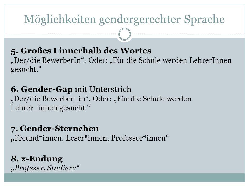 """Möglichkeiten gendergerechter Sprache 5. Großes I innerhalb des Wortes """"Der/die BewerberIn"""". Oder: """"Für die Schule werden LehrerInnen gesucht."""" 6. Gen"""