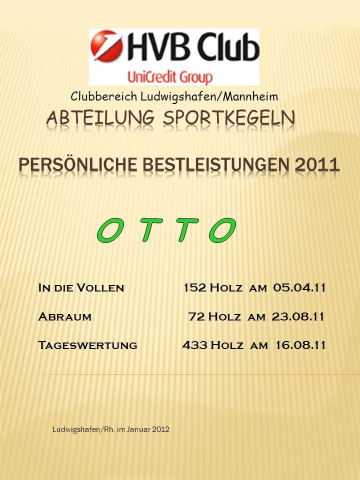 Clubbereich Ludwigshafen/Mannheim Ludwigshafen/Rh. im Januar 2012 In die Vollen152 Holz am 05.04.11 Abraum 72 Holz am 23.08.11 Tageswertung433 Holz am