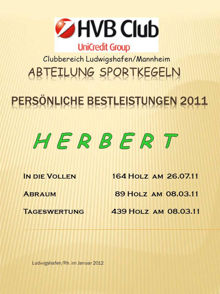 Clubbereich Ludwigshafen/Mannheim Ludwigshafen/Rh. im Januar 2012 In die Vollen164 Holz am 26.07.11 Abraum 89 Holz am 08.03.11 Tageswertung439 Holz am