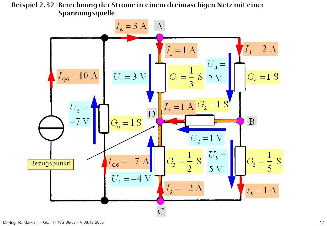 Dr.-Ing. R. Marklein - GET I - WS 06/07 - V 08.12.2006 12 Beispiel 2.32: Berechnung der Ströme in einem dreimaschigen Netz mit einer Spannungsquelle B