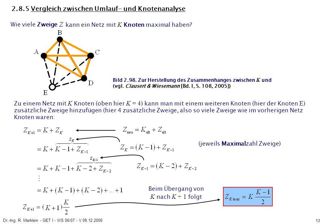 Dr.-Ing. R. Marklein - GET I - WS 06/07 - V 08.12.2006 13 2.8.5 Vergleich zwischen Umlauf- und Knotenanalyse Wie viele Zweige kann ein Netz mit K Knot