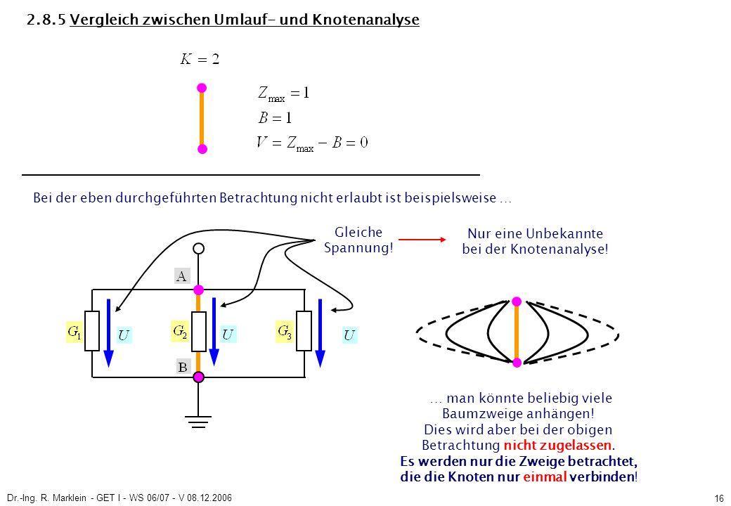 Dr.-Ing. R. Marklein - GET I - WS 06/07 - V 08.12.2006 16 2.8.5 Vergleich zwischen Umlauf- und Knotenanalyse Gleiche Spannung! Nur eine Unbekannte bei
