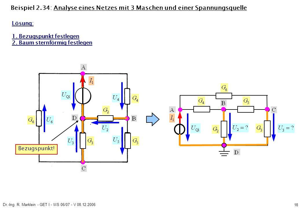 Dr.-Ing. R. Marklein - GET I - WS 06/07 - V 08.12.2006 18 Beispiel 2.34: Analyse eines Netzes mit 3 Maschen und einer Spannungsquelle Lösung: 1. Bezug