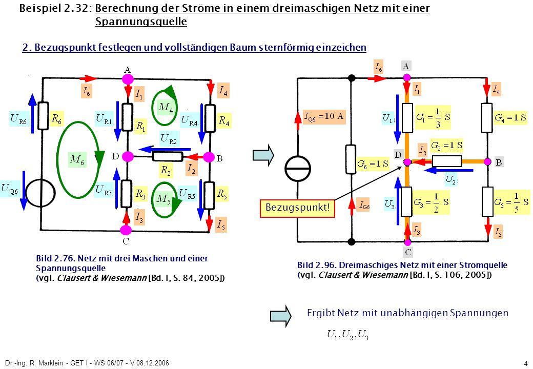 Dr.-Ing. R. Marklein - GET I - WS 06/07 - V 08.12.2006 4 Beispiel 2.32: Berechnung der Ströme in einem dreimaschigen Netz mit einer Spannungsquelle Bi
