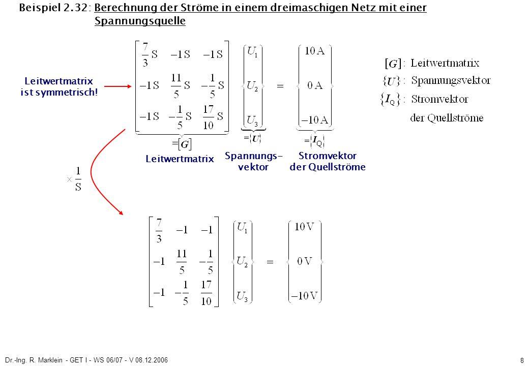 Dr.-Ing. R. Marklein - GET I - WS 06/07 - V 08.12.2006 8 Beispiel 2.32: Berechnung der Ströme in einem dreimaschigen Netz mit einer Spannungsquelle Le