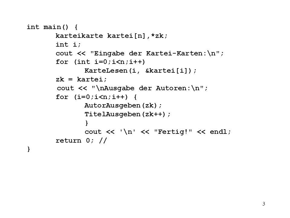 4 int GanzeZahlLesen(char * prompt) { int i; char unnuetz; // wird gebraucht, // um \n aus Tastaturpuffer zu entfernen.
