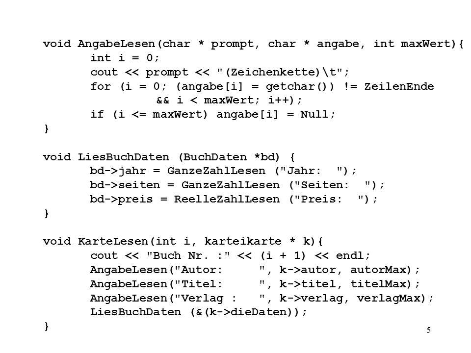 6 void AutorAusgeben(karteikarte * k){ cout << Autor : autor << \n ; } void TitelAusgeben(karteikarte * k){ cout << Titel : titel << \n ; }