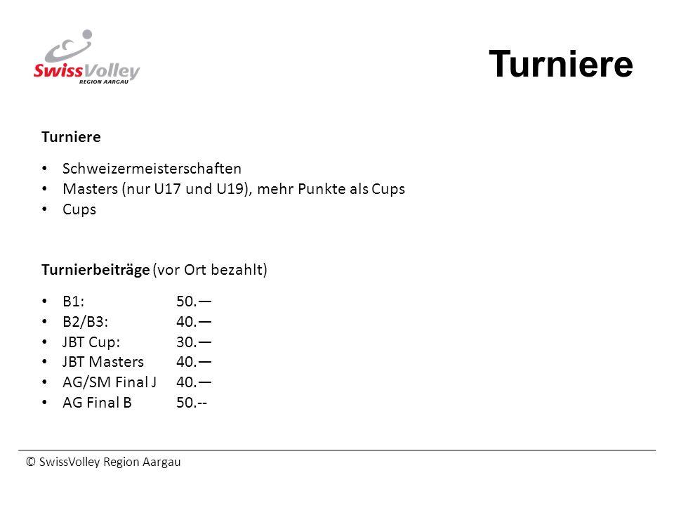 © SwissVolley Region Aargau Turniere Schweizermeisterschaften Masters (nur U17 und U19), mehr Punkte als Cups Cups Turnierbeiträge (vor Ort bezahlt) B