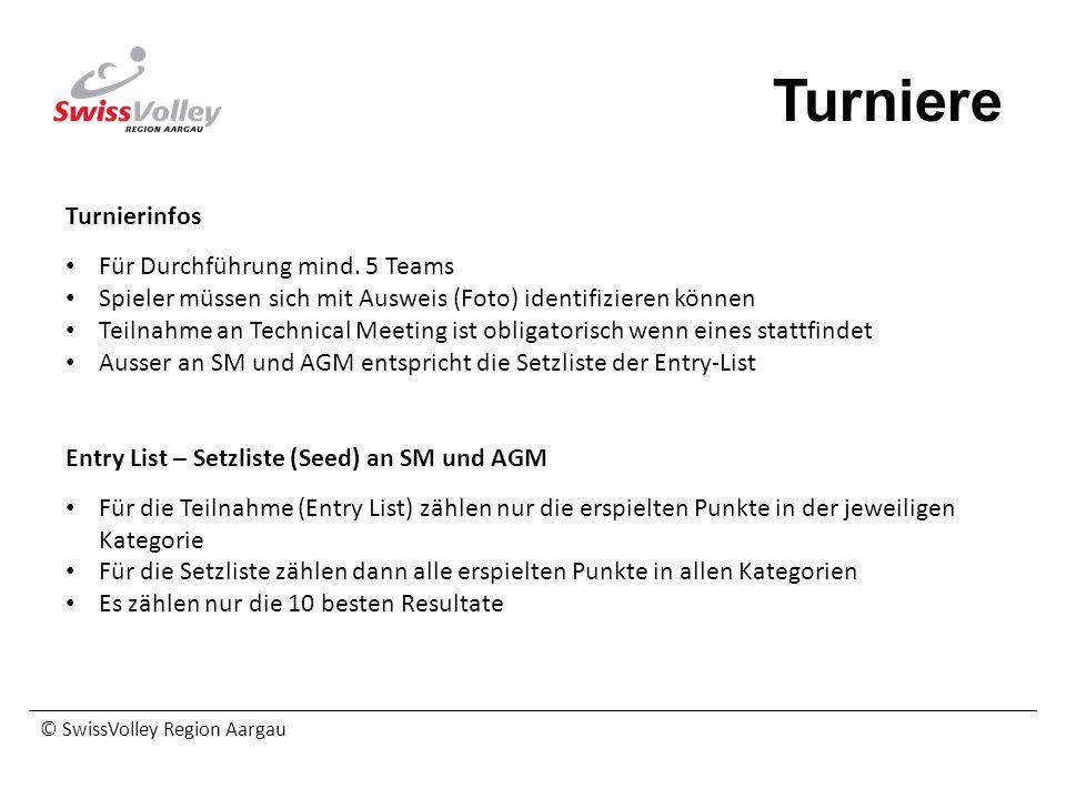 © SwissVolley Region Aargau Turniere Turnierinfos Für Durchführung mind. 5 Teams Spieler müssen sich mit Ausweis (Foto) identifizieren können Teilnahm