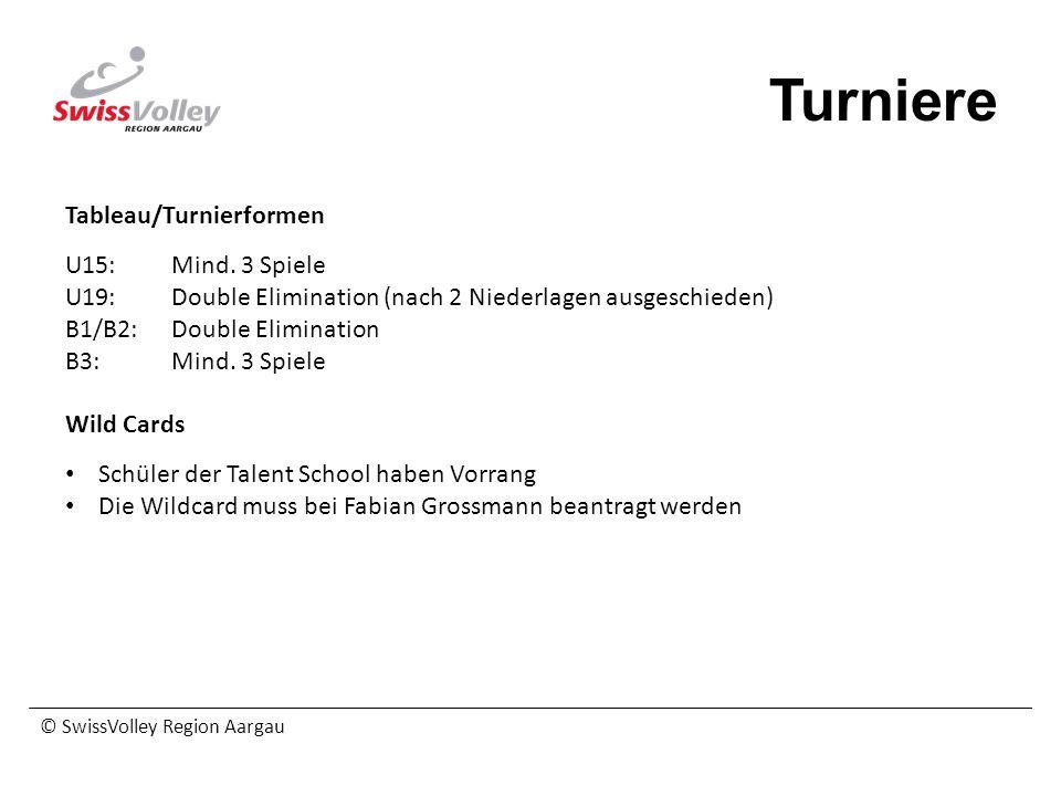 © SwissVolley Region Aargau Turniere Tableau/Turnierformen U15:Mind. 3 Spiele U19:Double Elimination (nach 2 Niederlagen ausgeschieden) B1/B2:Double E