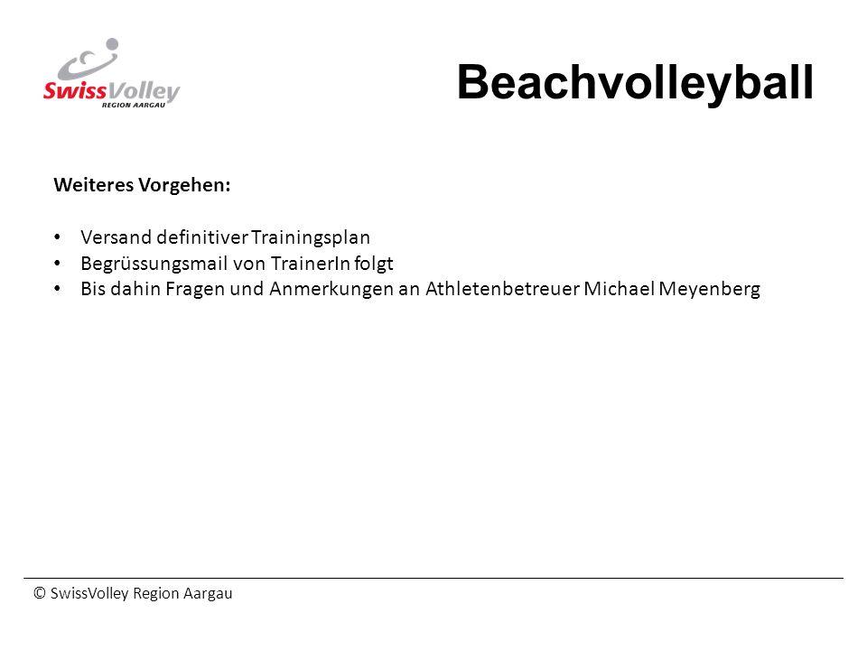 © SwissVolley Region Aargau Beachvolleyball Weiteres Vorgehen: Versand definitiver Trainingsplan Begrüssungsmail von TrainerIn folgt Bis dahin Fragen