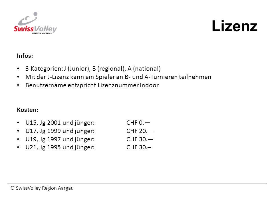 © SwissVolley Region Aargau Lizenz Infos: 3 Kategorien: J (Junior), B (regional), A (national) Mit der J-Lizenz kann ein Spieler an B- und A-Turnieren