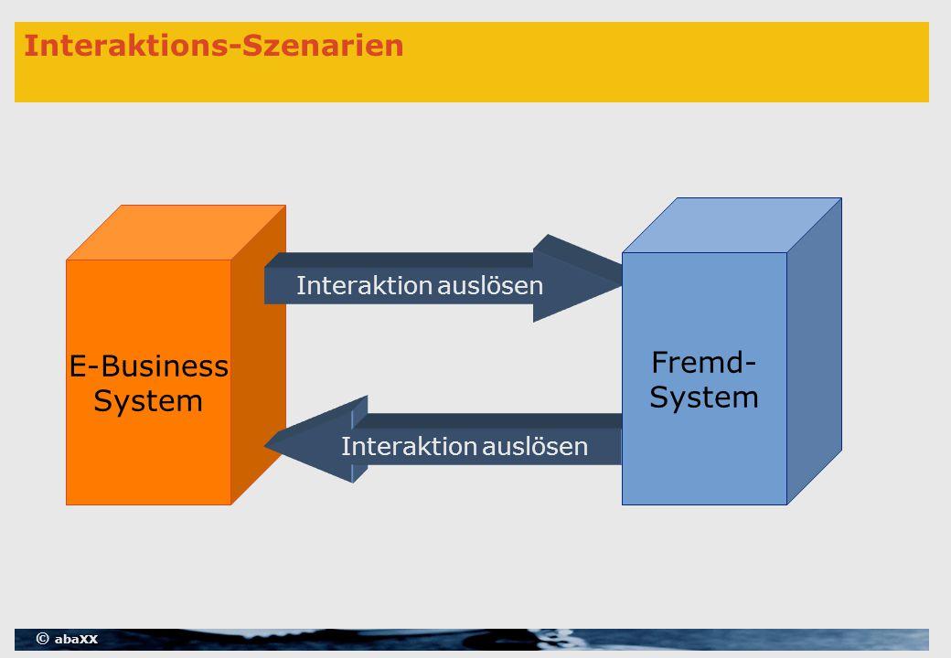 © abaXX Interaktions-Szenarien E-Business System Interaktion auslösen Fremd- System