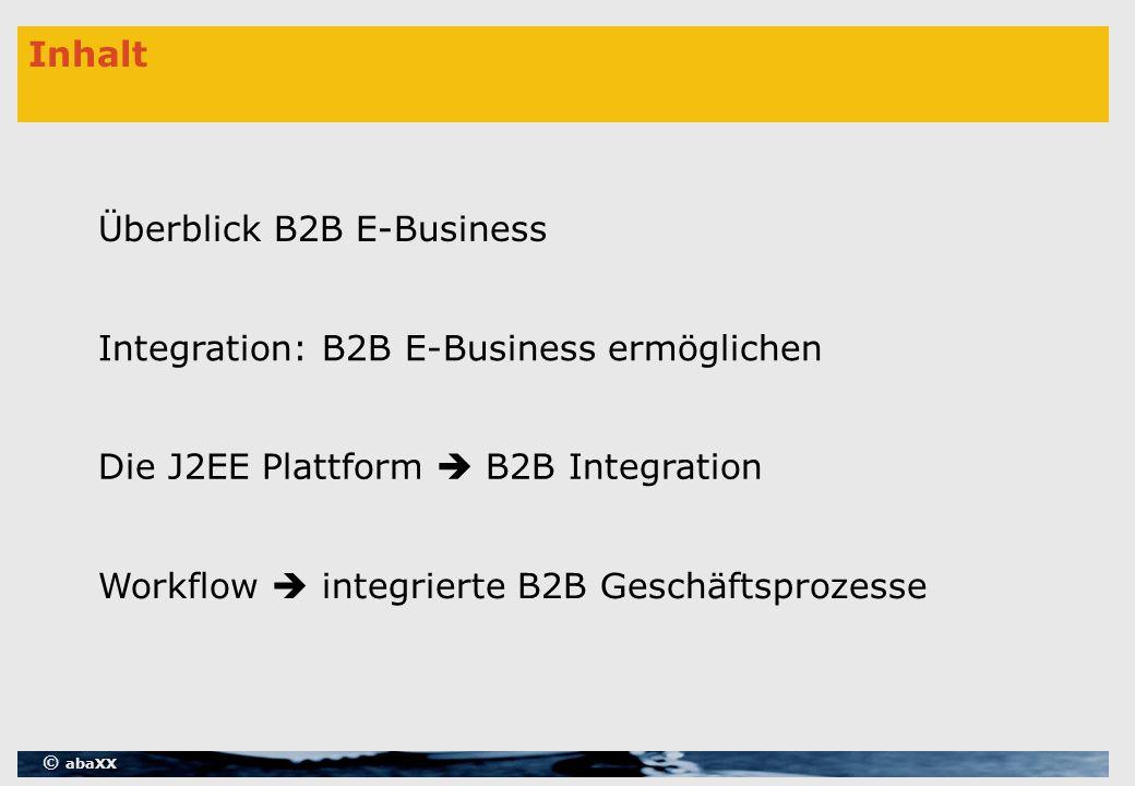 © abaXX Inhalt Überblick B2B E-Business Integration: B2B E-Business ermöglichen Workflow  integrierte B2B Geschäftsprozesse Die J2EE Plattform  B2B Integration