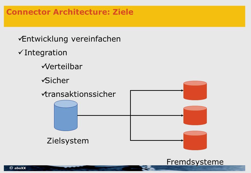 © abaXX Connector Architecture: Ziele Entwicklung vereinfachen Integration Verteilbar Sicher transaktionssicher Zielsystem Fremdsysteme