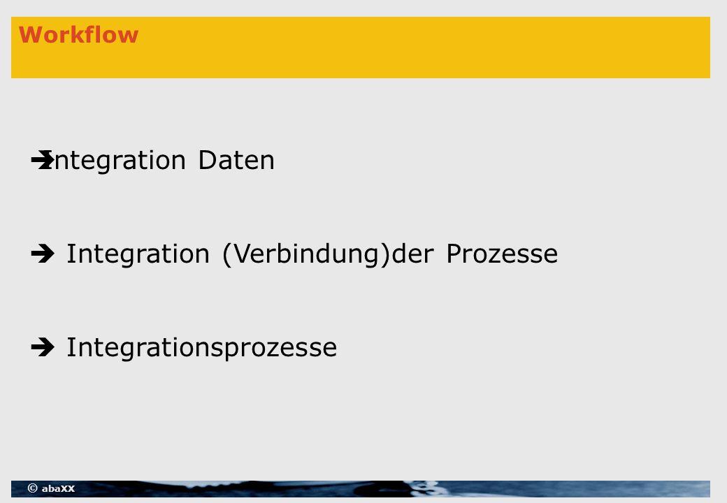 © abaXX Workflow  Integration Daten  Integration (Verbindung)der Prozesse  Integrationsprozesse