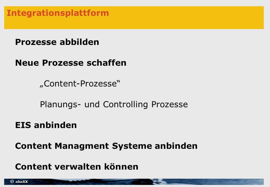 """© abaXX Integrationsplattform Prozesse abbilden Neue Prozesse schaffen EIS anbinden Content Managment Systeme anbinden Content verwalten können Planungs- und Controlling Prozesse """"Content-Prozesse"""