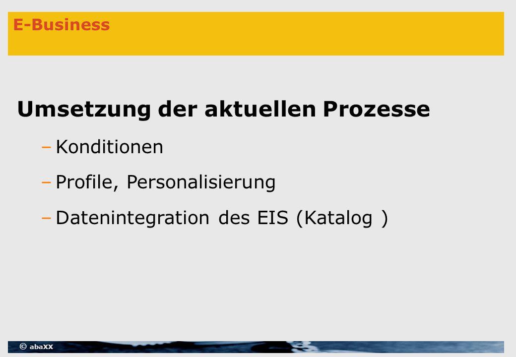 © abaXX E-Business Umsetzung der aktuellen Prozesse –Konditionen –Profile, Personalisierung –Datenintegration des EIS (Katalog )