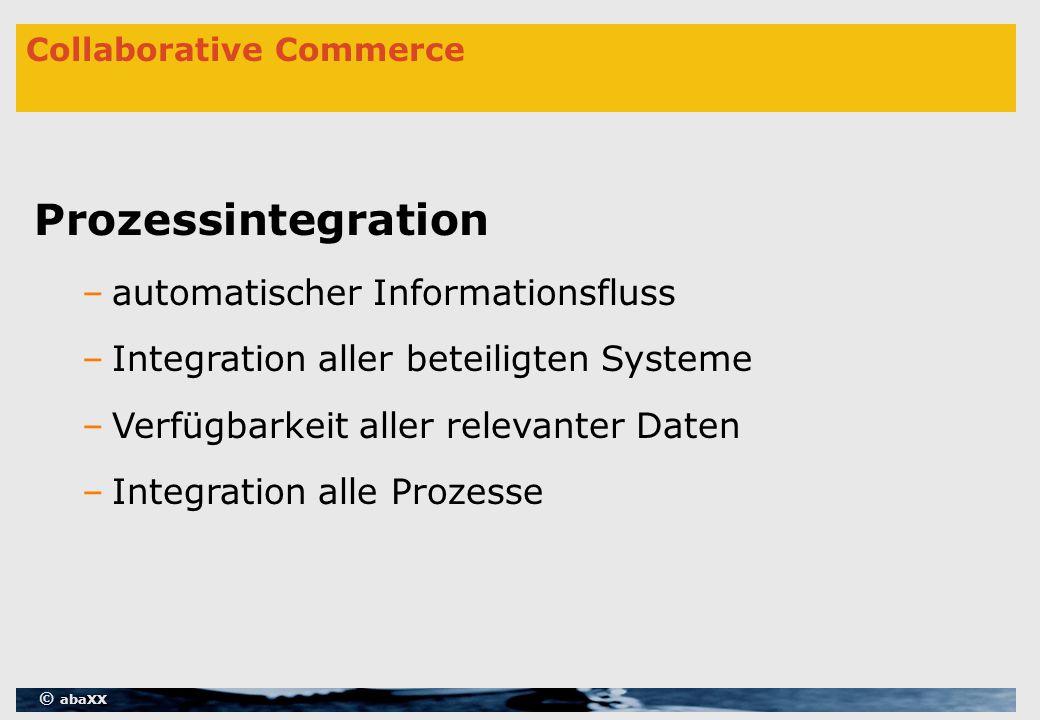 © abaXX Collaborative Commerce Prozessintegration –automatischer Informationsfluss –Integration aller beteiligten Systeme –Verfügbarkeit aller relevanter Daten –Integration alle Prozesse