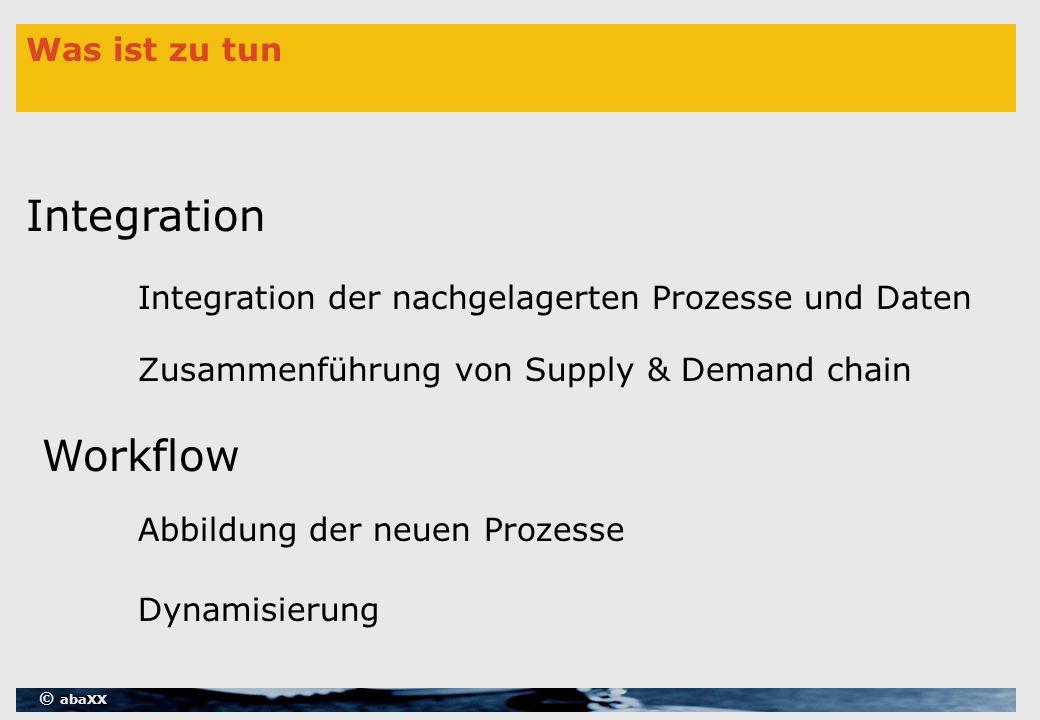 © abaXX Was ist zu tun Integration Workflow Zusammenführung von Supply & Demand chain Integration der nachgelagerten Prozesse und Daten Abbildung der neuen Prozesse Dynamisierung