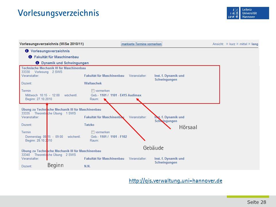 Seite 28 Vorlesungsverzeichnis Gebäude http://qis.verwaltung.uni-hannover.de Hörsaal Beginn