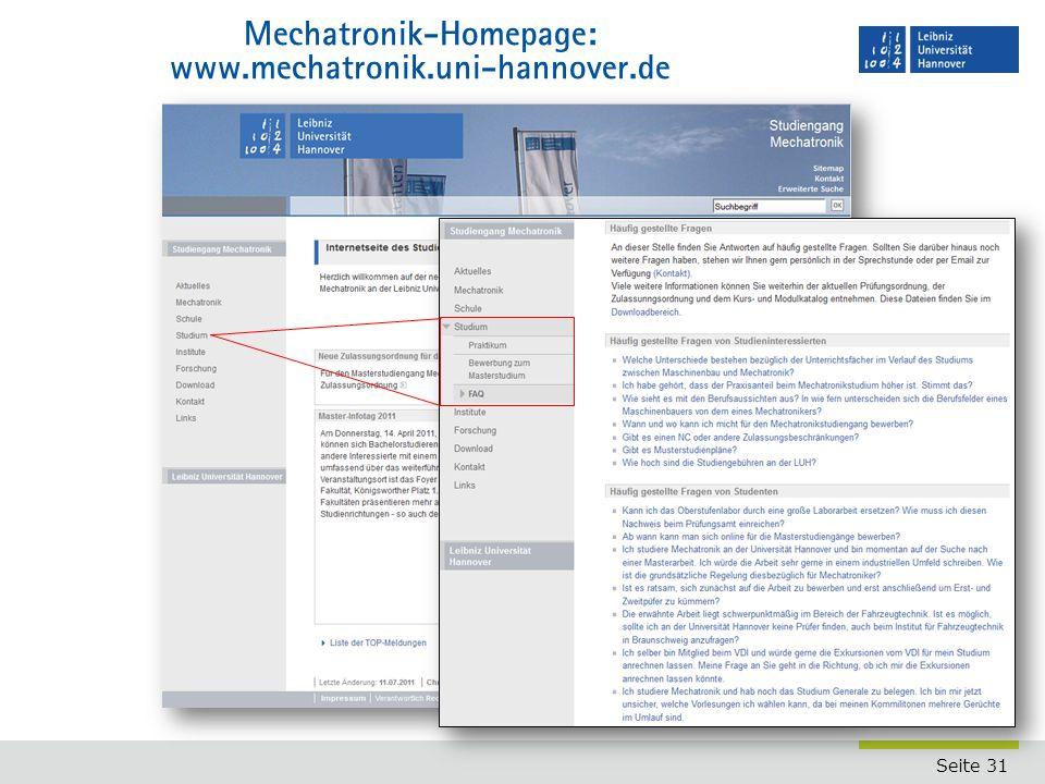 Seite 31 Mechatronik-Homepage: www.mechatronik.uni-hannover.de