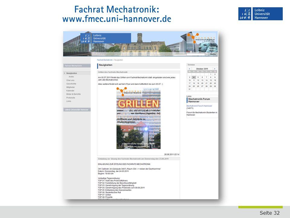 Seite 32 Fachrat Mechatronik: www.fmec.uni-hannover.de