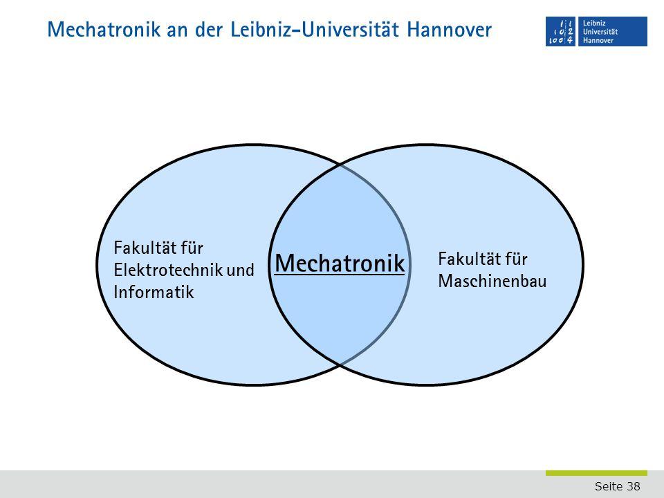 Seite 38 Mechatronik an der Leibniz-Universität Hannover Fakultät für Elektrotechnik und Informatik Fakultät für Maschinenbau Mechatronik