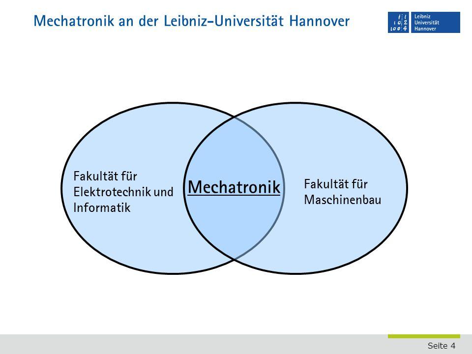 Seite 4 Mechatronik an der Leibniz-Universität Hannover Fakultät für Elektrotechnik und Informatik Fakultät für Maschinenbau Mechatronik