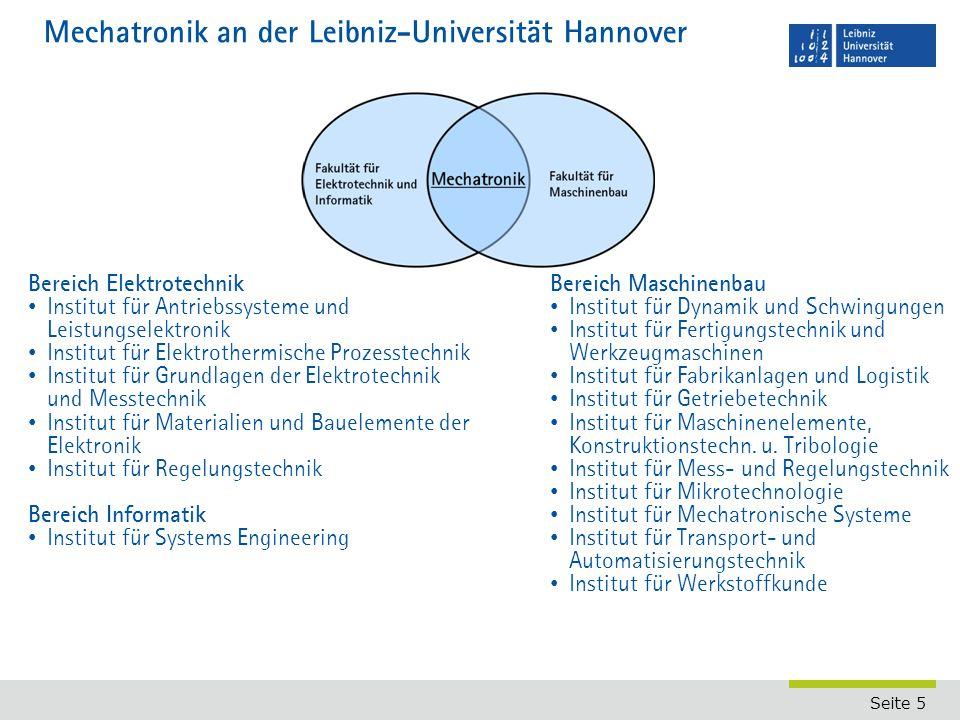 Seite 5 Mechatronik an der Leibniz-Universität Hannover Bereich Elektrotechnik Institut für Antriebssysteme und Leistungselektronik Institut für Elekt