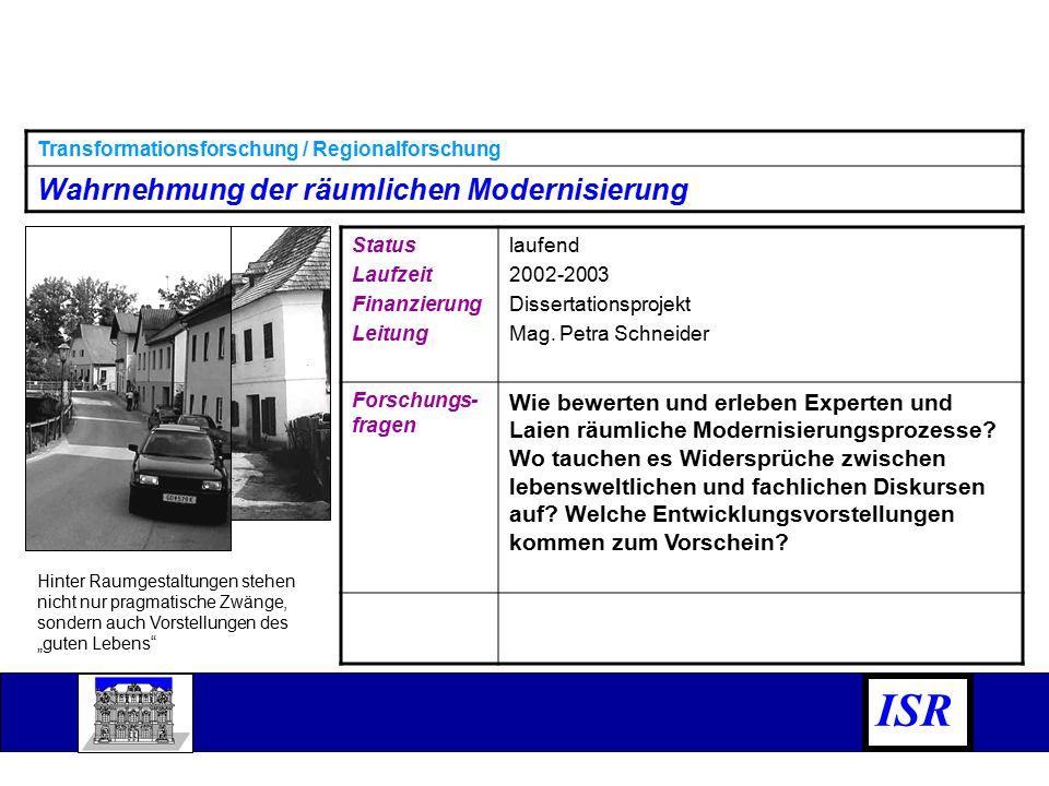 Status Laufzeit Finanzierung Leitung laufend 2002-2003 Dissertationsprojekt Mag.